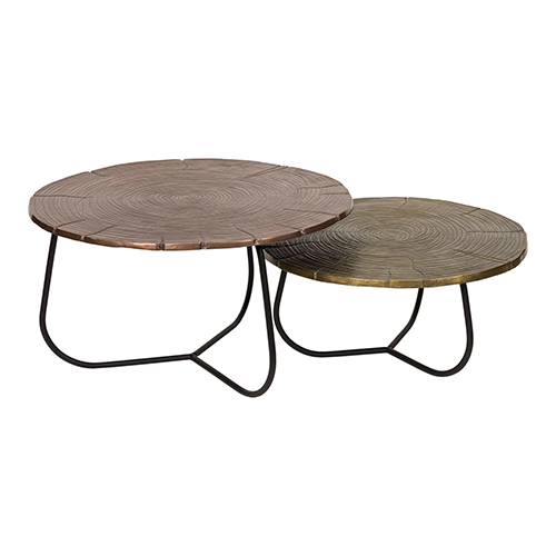 Multicolor Cross Section Table, Set Of Two
