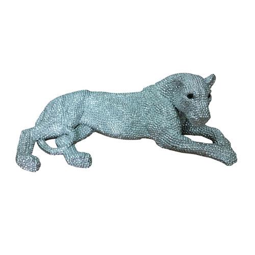 Panthera Statue Small Silver