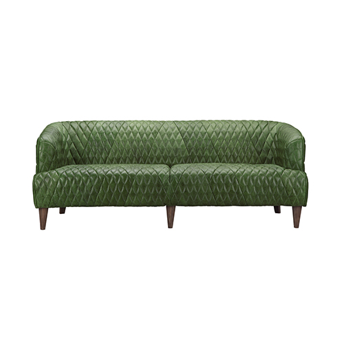 Moe's Home Collection  Magdelan Tufted Leather Sofa Emerald