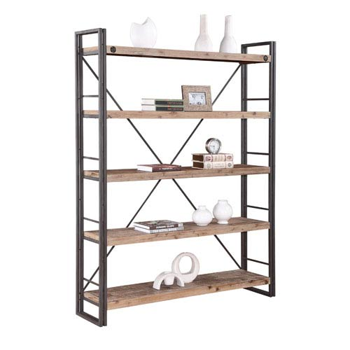 Moe's Home Collection  Brooklyn Natural and Grey Large Open Bookshelf