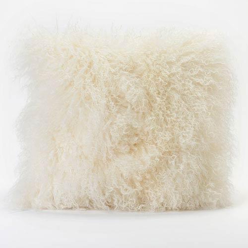 Moe's Home Collection  Lamb Fur Cream Square Decorative Pillow