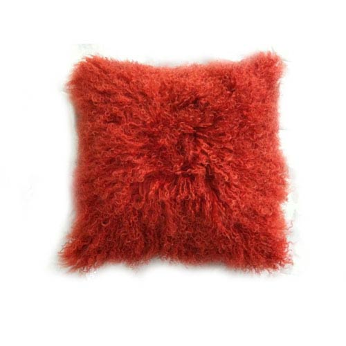 Moe's Home Collection  Lamb Fur Orange Square Decorative Pillow