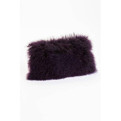 Moe's Home Collection  Lamb Fur Purple Rectangular Decorative Pillow