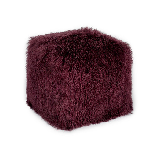 Lamb Fur Pouf Purple