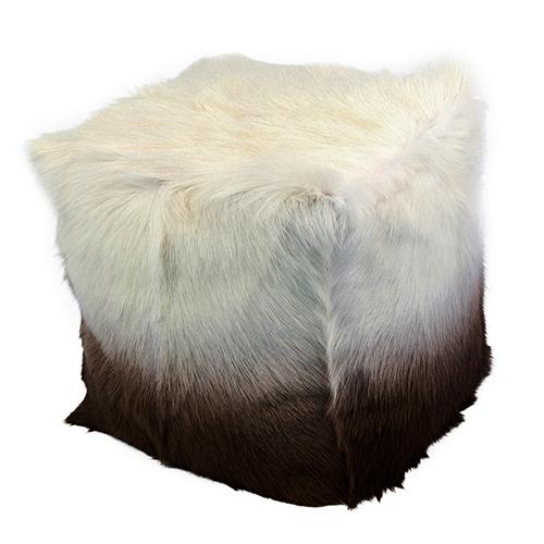 Goat Fur Pouf Cappuccino Ombre