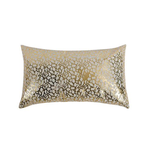 Moe's Home Collection  Daisy Rectangular Pillow White And Gold