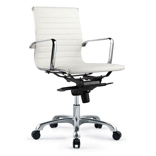 Omega Low Back White Office Chair, Set of 2