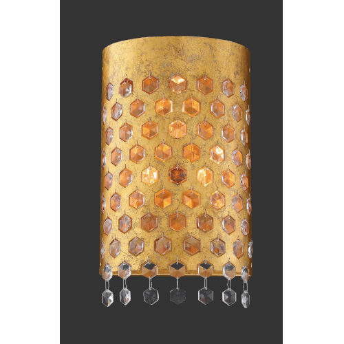 Kingsmont Glitz Gold Leaf Three-Light Wall Sconce