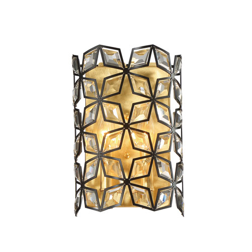 Brookcrest Sand Coal and Gold Leaf Two-Light Wall Sconce