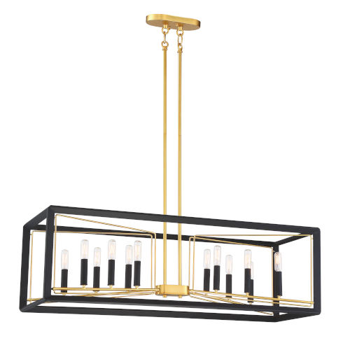 Sable Point Sand Black With Honey Gold 12-Light Pendant