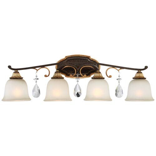 Metropolitan Lighting Chateau Nobles Raven Bronze with Sunburst Gold Highlight Four-Light 33-Inch Bath Light