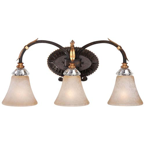 Bella Cristallo French Bronze with Gold Leaf Highlights Three-Light Bath Fixture