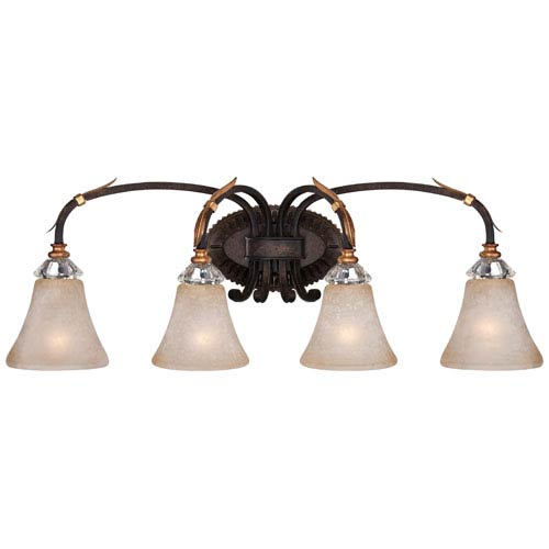 Bella Cristallo French Bronze with Gold Leaf Highlights Four-Light Bath Fixture