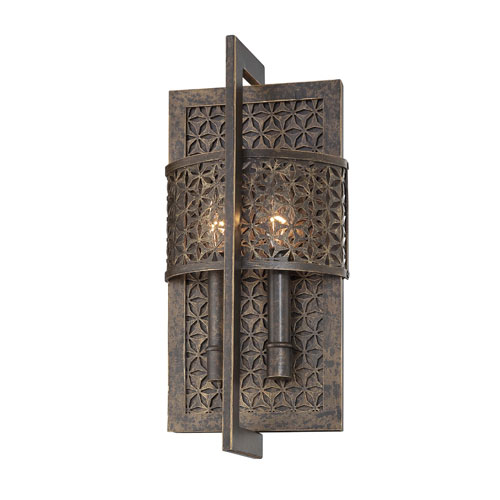 Metropolitan Lighting Ajourer French Bronze with Jeweled Accents Two-Light Wall Sconce