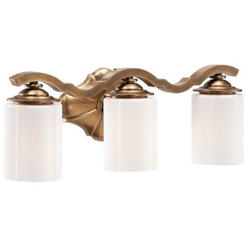 Metropolitan Lighting Leicester Aged Brass Three-Light Bath Fixture