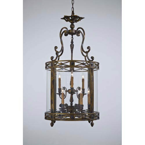 Vintage French Gold with Patina Nine-Light Two-Tier Foyer Pendant with Tan Drip Candlesleeves