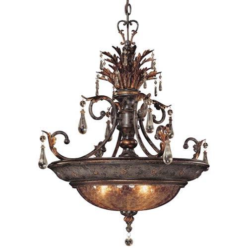 Sanguesa Patina Three-Light Pendant with Art Glass Shade