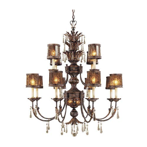 Sanguesa Patina Seventeen-Light Chandelier with Art Glass Shade