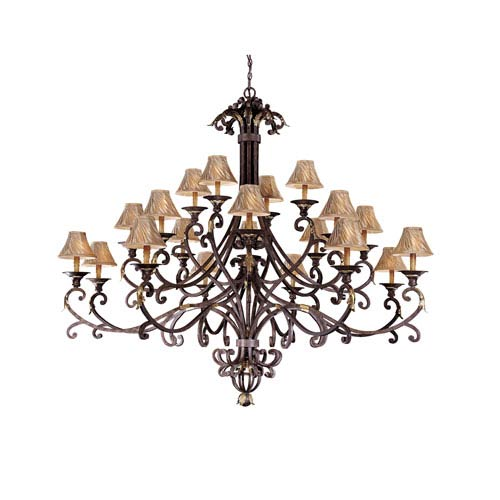 Zaragoza Golden Bronze Twenty-Light Three-Tier Chandelier