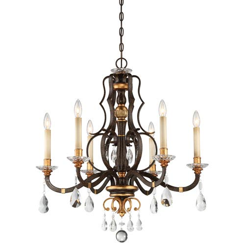 Chateau Nobles Raven Bronze with Sunburst Gold Highlight Six-Light 28-Inch Chandelier