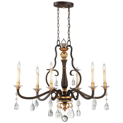 Chateau Nobles Raven Bronze with Sunburst Gold Highlight Six-Light 18-Inch Chandelier