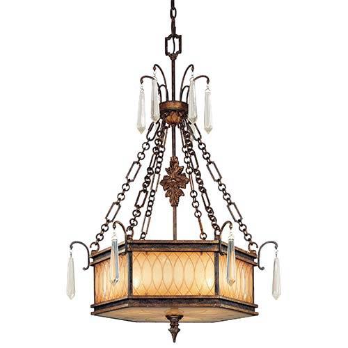 Metropolitan Lighting Terraza Villa Aged Patina and Gold Leaf Accent Three-Light Drum Pendant