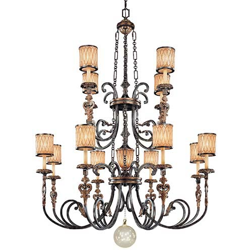 Terraza Villa Aged Patina and Gold Leaf Accent 13-Light Chandelier