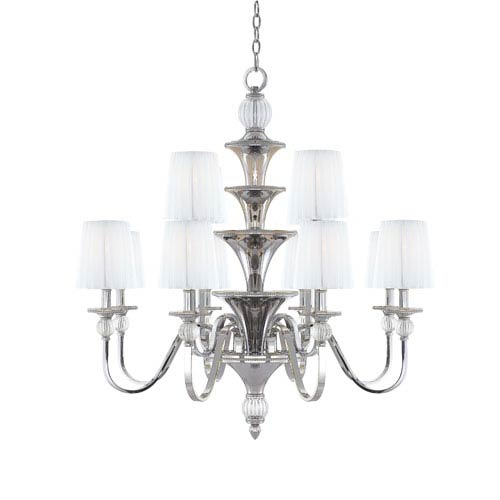 Metropolitan Lighting Aise Polished Nickel Two Tier Nine-Light Chandelier