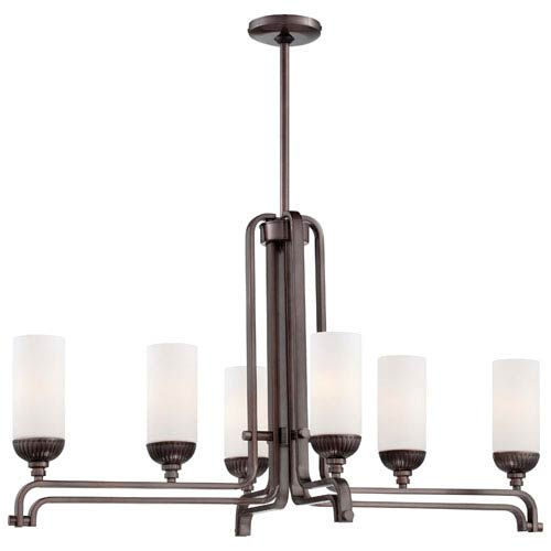Metropolitan Lighting Industrial Bronze Six-Light Island Pendant