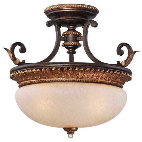 Bella Cristallo French Bronze with Gold Leaf Highlights Three-Light Semi-Flush Mount