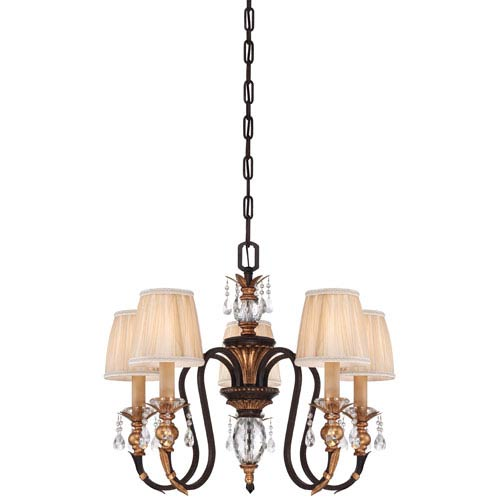 Bella Cristallo French Bronze with Gold Leaf Highlights Five-Light Chandelier