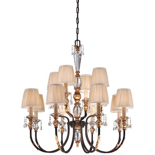 Bella Cristallo French Bronze with Gold Leaf Highlights 12-Light Chandelier