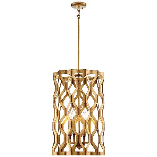 Metropolitan Lighting Coronade Pandora Gold Leaf 17-Inch Four-Light Pendant