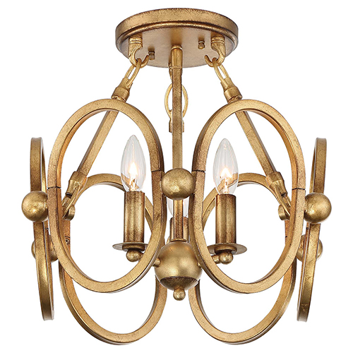 Clairpointe Pandora Gold Leaf Three-Light Semi-Flush Mount