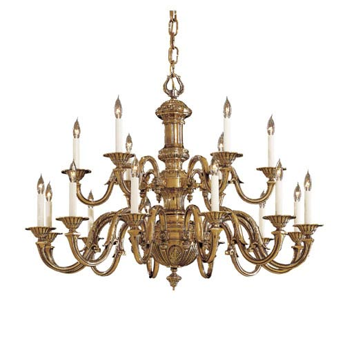 Vintage Antique Brass Eighteen-Light Two-Tier Chandelier