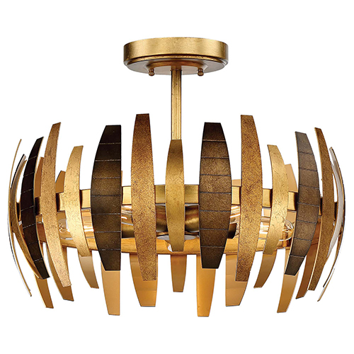 Metropolitan Lighting Manitou Ardor Gold 19-Inch Five-Light Semi-Flush Mount