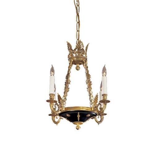 Vintage Four-Light Dore Gold Chandelier