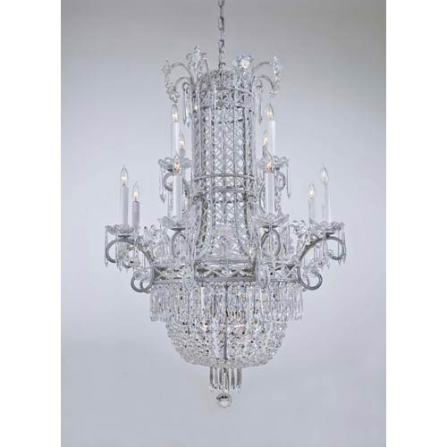 Vintage Silver Twelve-Light Two-Tier Chandelier with Crystal Rosettes and White Drip Candlesleeves
