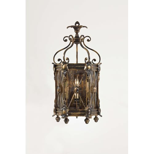 Vintage Bronze Oxide Three-Light Two-Tier Wall Sconce with Tan Drip Candlesleeves