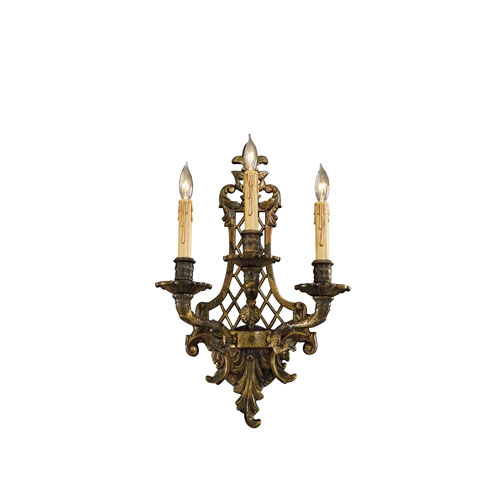 Oxide Brass Three-Light Wall Sconce with Tan Drip Candle Sleeves Shade