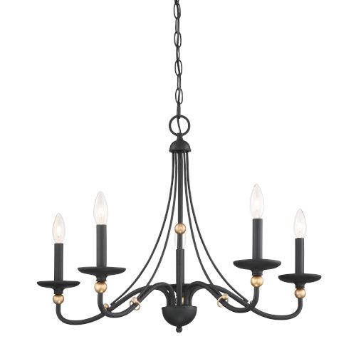 Westchester County Sand Coal And Skyline Gold Leaf Five-Light 28-Inch Chandelier