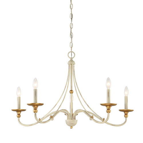 Westchester County Farm House White Five-Light 28-Inch Chandelier