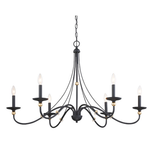 Westchester County Sand Coal And Skyline Gold Leaf Six-Light Chandelier