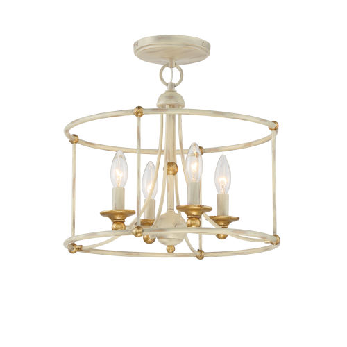 Westchester County Farm House White Four-Light Semi Flush Mount