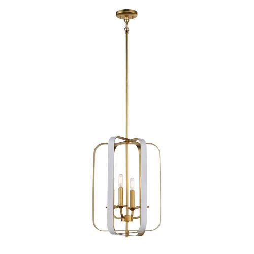 Aureum Matte White and Honey Gold Four-Light Pendant