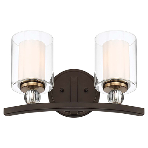 Studio 5 Painted Bronze with Natural Brushed Brass Two-Light Bath Vanity