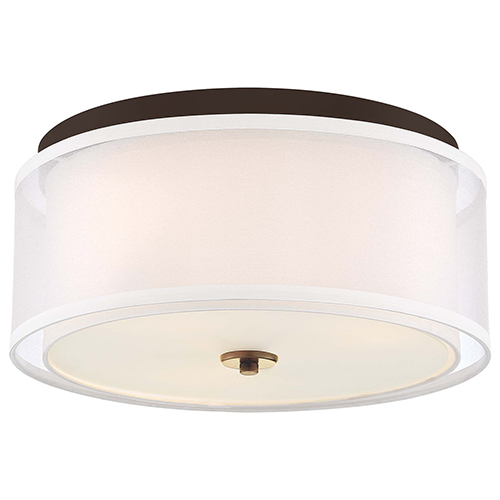 Studio 5 Painted Bronze with Natural Brushed Brass Three-Light Flush Mount