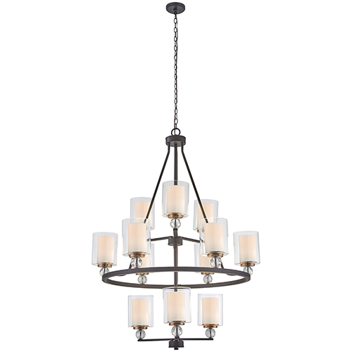 Minka-Lavery Studio 5 Painted Bronze with Natural Brush 12-Light Chandelier