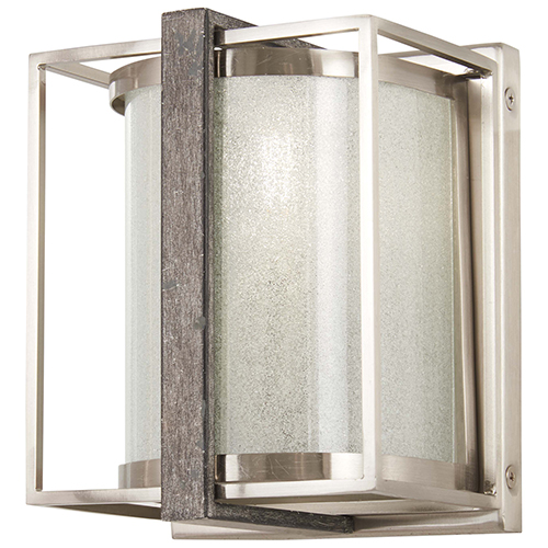 Tysons Gate Brushed Nickel with Shale Wood One-Light Wall Sconce