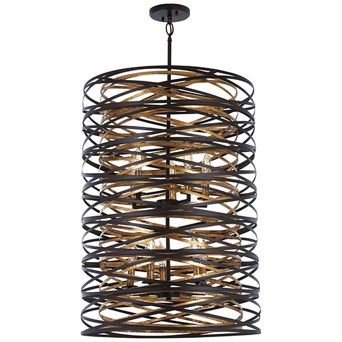 Minka-Lavery Vortic Flow Dark Bronze with Mosaic Gold 10-Light Pendant